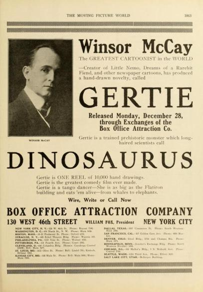 Gertie the Dinosaur moving pic world fall '14