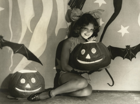 Clara Bow seated carved pumpkin