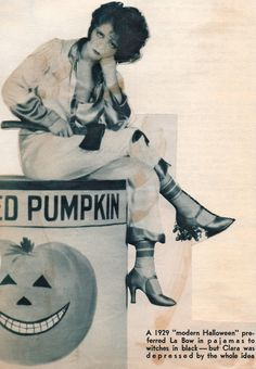 Clara Bow sitting on canned pumpk