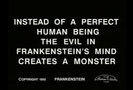 Frankenstein 1910 title card monster