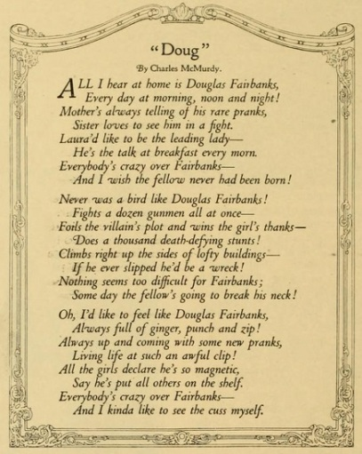 Douglas Fairbanks funny poem Photoplay Nov. '17