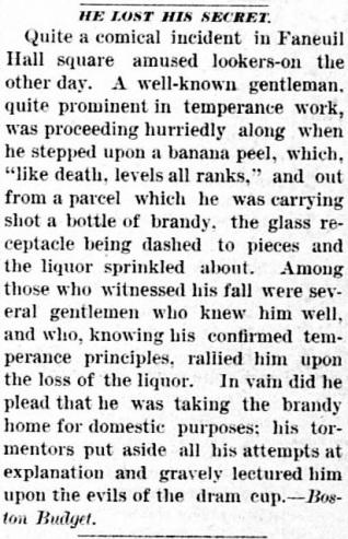 Banana peel slip story the canton advocate, SD Jan 5, 1888