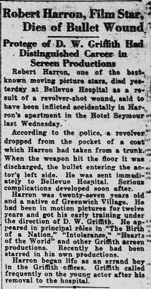 death Dies of bullet wound New York Tribune, Sept 6, '20