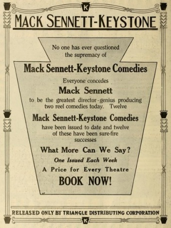 Keystone full page ad sennett mov pic world '17