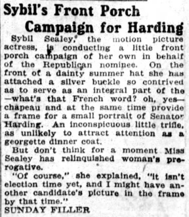 Sybil harding campaign blurb The Boston Post Sun Oct. 10 '20