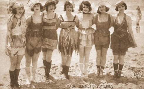 Bathing Beauties arcade card row of beauties