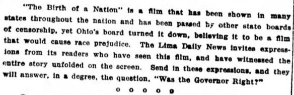 From The Lima News, Lima, Ohio, December 3 1915.
