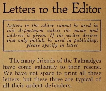 Whats the matter with the talmadgessome fan magazine letter jules d white letters to the editor mot pic mag may 21 spiritdancerdesigns Images