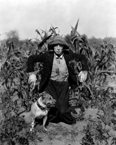 c. 1920s: Actor Buster Keaton Dressed as a Scarecrow