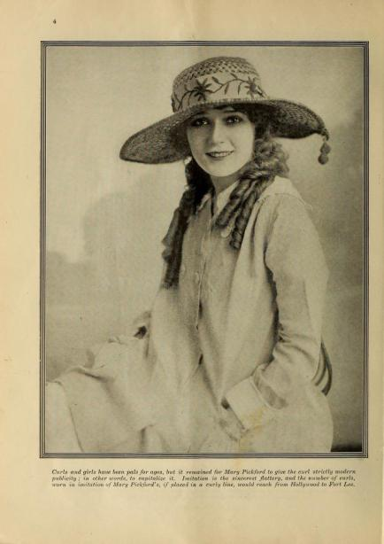 Mary Pickford curls portrait Film Fun July '19