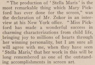Pickford zukor on stella maris mot pic news '17