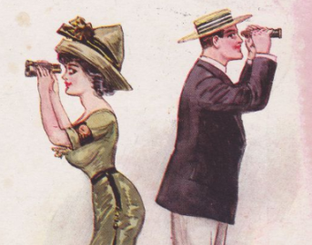 Man woman binoculars 1910s