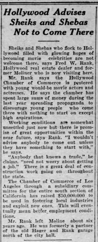 Sheiks not wanted in LA The Dispatch Moline, Illinois June 20 '24