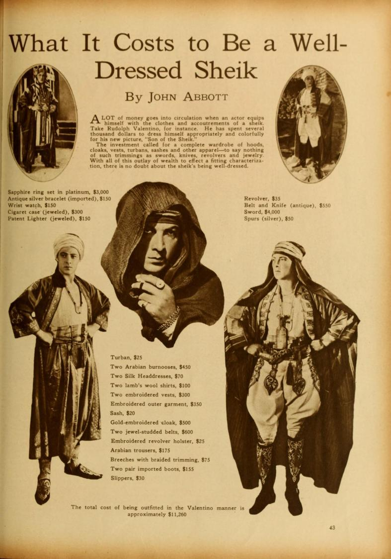 Valentino well dressed sheik Sept '26