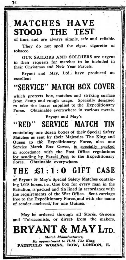 Bryant May matches observer ad Dec 20 '14