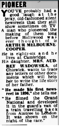 clipping MelbrnCper daughter Daily Mirror Feb 21 '58