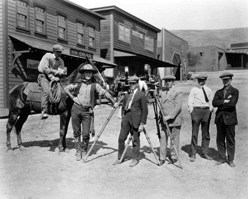 Hollywood western crew filming